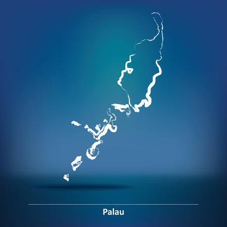 palau: Doodle Map of Palau - vector illustration Illustration