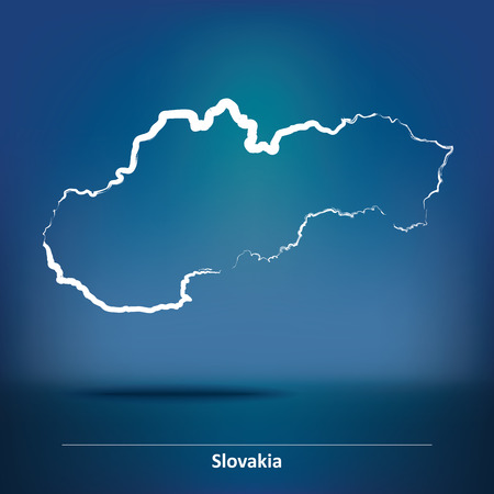 slovakian: Doodle Map of Slovakia - vector illustration Illustration