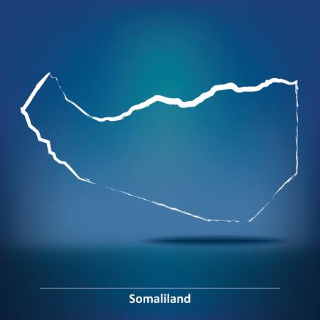 somaliland: Doodle Map of Somaliland - vector illustration