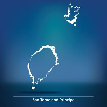 principe: Doodle Mapa de Santo Tomé y Príncipe - ilustración vectorial