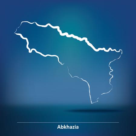 sukhumi: Doodle Map of Abkhazia - vector illustration