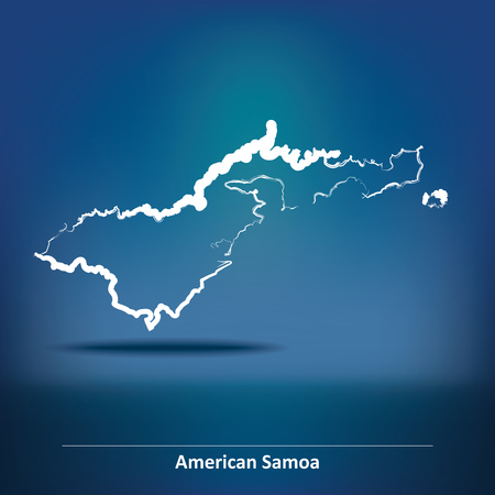 samoa: Doodle Map of American Samoa - vector illustration