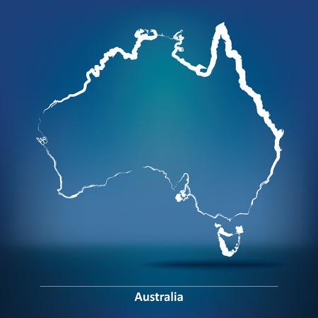bandera blanca: Doodle Mapa de Australia - ilustración vectorial Vectores