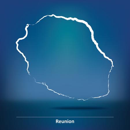 reunion: Doodle Map of Reunion - vector illustration