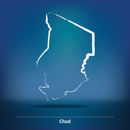 Doodle Map of Chad - vector illustration Illustration