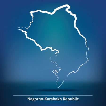 Doodle Map of Nagorno-Karabakh Republic - vector illustration