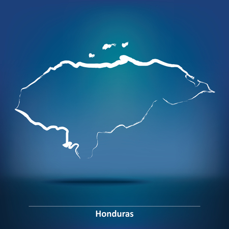 toltec: Doodle Map of Honduras - vector illustration Illustration