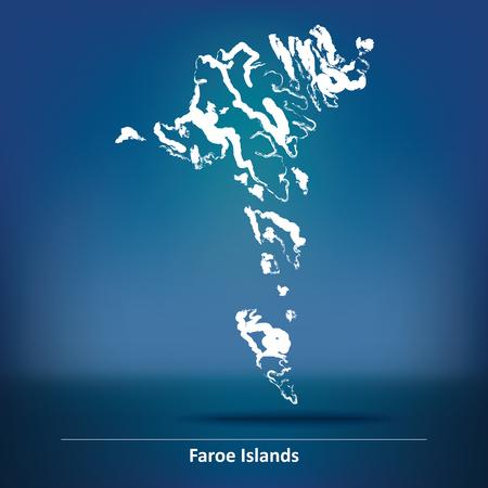 atlantic city: Doodle Map of Faroe Islands - vector illustration