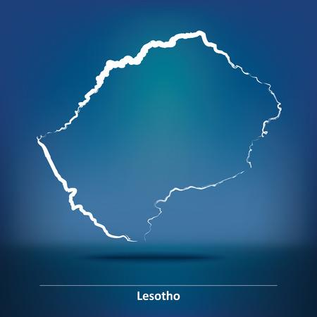 lesotho: Doodle Map of Lesotho - vector illustration Illustration