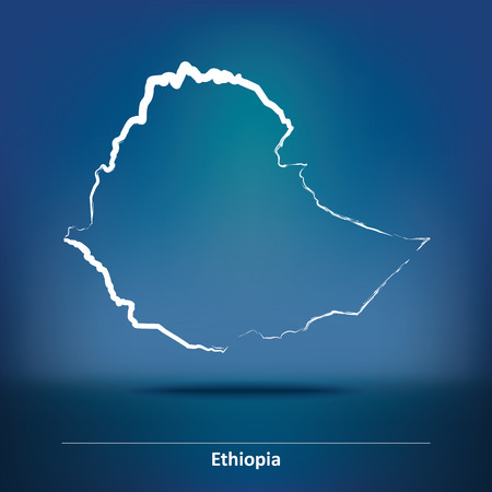 ethiopia abstract: Doodle Map of Ethiopia - vector illustration