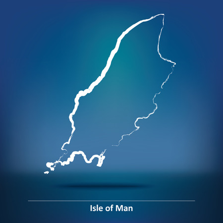 british isles: Doodle Map of Isle of Man - vector illustration