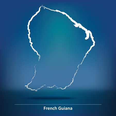 guiana: Doodle Map of French Guiana - vector illustration