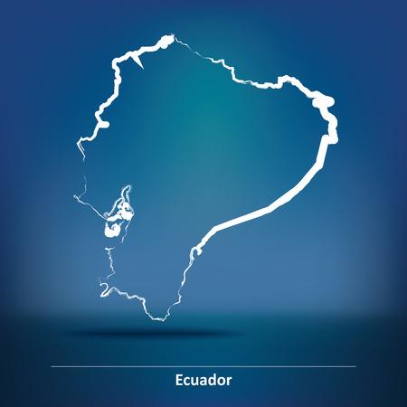 republic of ecuador: Doodle Map of Ecuador - vector illustration