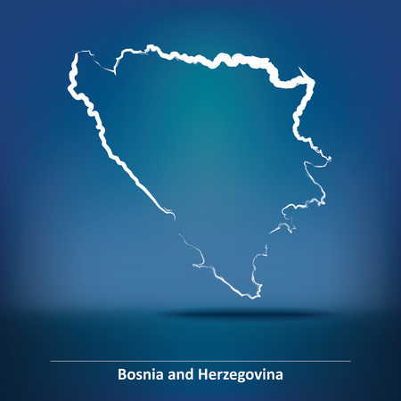 bosnian: Doodle Map of Bosnia and Herzegovina - vector illustration