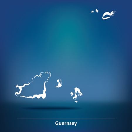 guernsey: Doodle Map of Guernsey - vector illustration