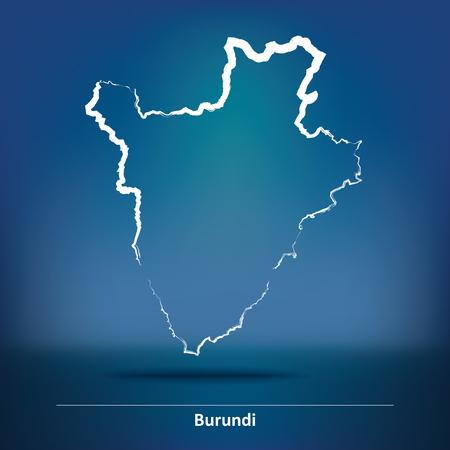 Doodle Map of Burundi - vector illustration