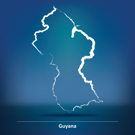 guyanese: Doodle Map of Guyana - vector illustration
