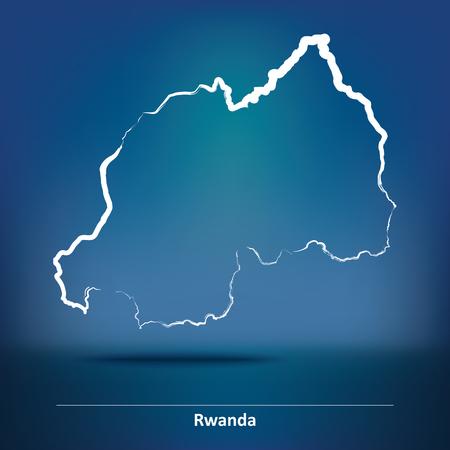 rwanda: Doodle Map of Rwanda - vector illustration
