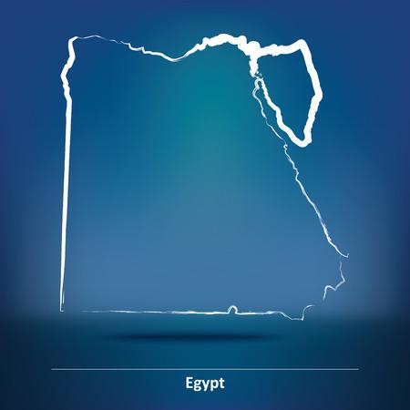flag of egypt: Doodle Mapa de Egipto - ilustraci�n vectorial