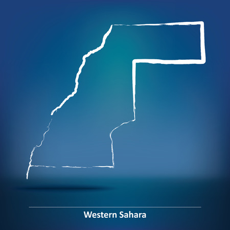 neighbours: Doodle Map of Western Sahara - vector illustration
