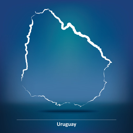 uruguay: Doodle Map of Uruguay - vector illustration Illustration