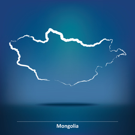 mongolia: Doodle Map of Mongolia - vector illustration
