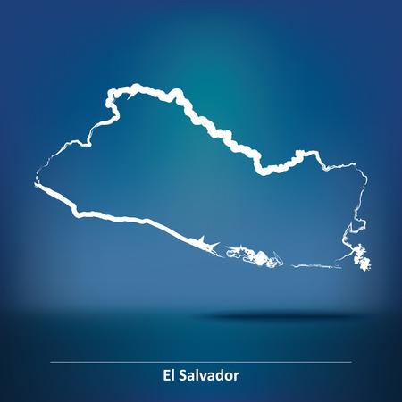 mapa de el salvador: Doodle Mapa de El Salvador - ilustraci�n vectorial