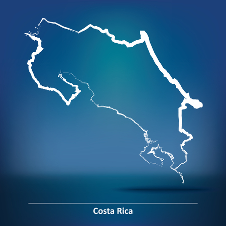 Doodle Map of Costa Rica - vector illustration