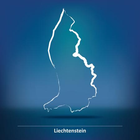 liechtenstein: Doodle Map of Liechtenstein - vector illustration Illustration