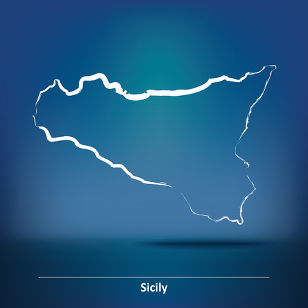 Doodle Map of Sicily - vector illustration