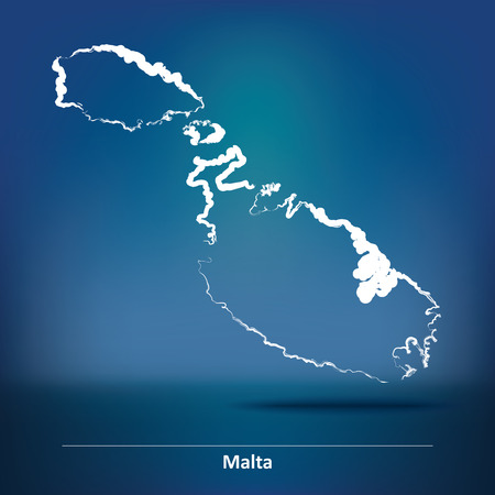maltese map: Doodle Map of Malta - vector illustration
