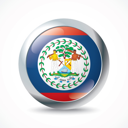 belize: Belize flag button - vector illustration