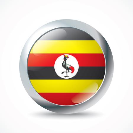 uganda: Uganda flag button - vector illustration