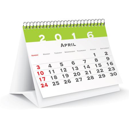 4월: April 2016 desk calendar - vector illustration 일러스트