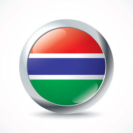 gambia: Gambia flag button - vector illustration