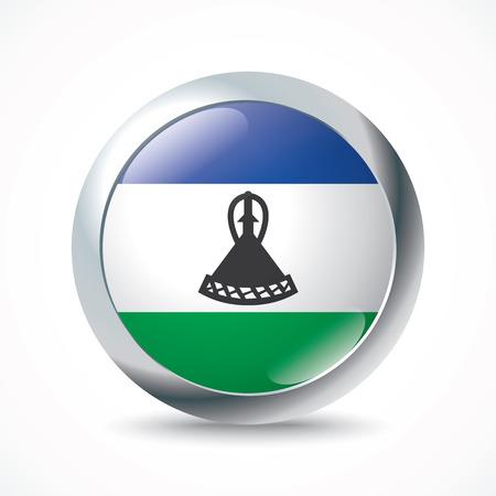 lesotho: Lesotho flag button - vector illustration