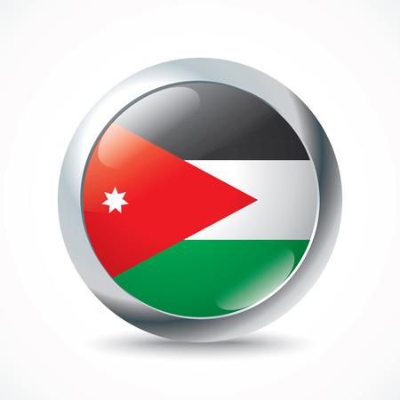 jordan: Jordan flag button - vector illustration