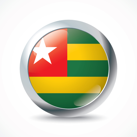 flag button: Togo flag button - vector illustration Illustration
