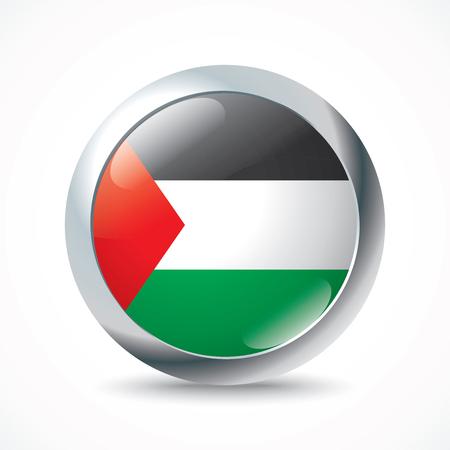 gaza: Gaza Strip flag button - vector illustration