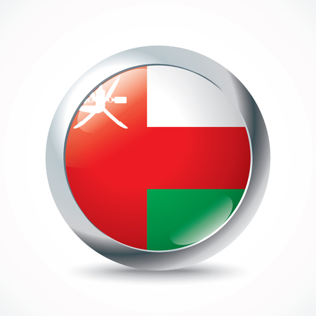 southwest asia: Oman flag button - vector illustration Illustration