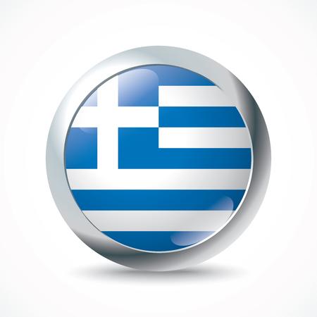 flag button: Greece flag button - vector illustration