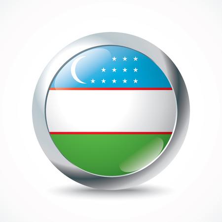uzbekistan: Uzbekistan flag button - vector illustration