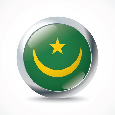 mauritania: Mauritania flag button - vector illustration Illustration