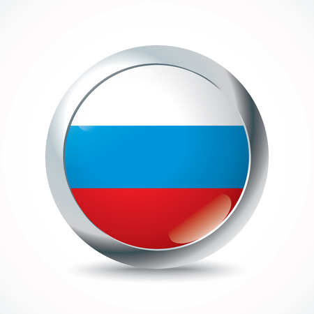 russia flag: Russia flag button - vector illustration Illustration