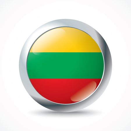 lithuania flag: Lithuania flag button - vector illustration