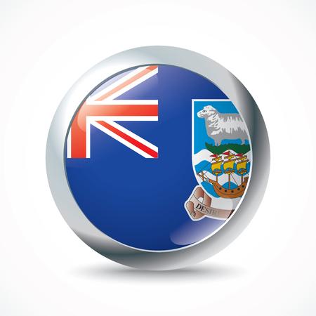falkland: Falkland Islands flag button - vector illustration Illustration