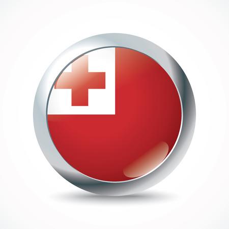 tonga: Tonga flag button - vector illustration