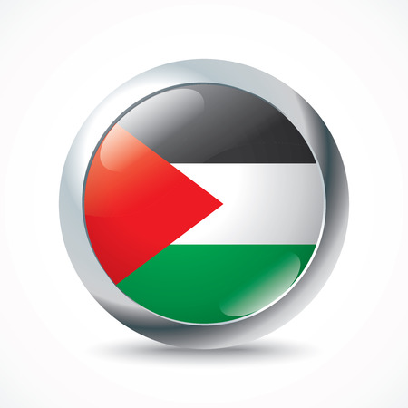 illustrated globe: West Bank flag button - vector illustration