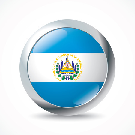 bandera de el salvador: El Salvador Botón del indicador - ilustración vectorial
