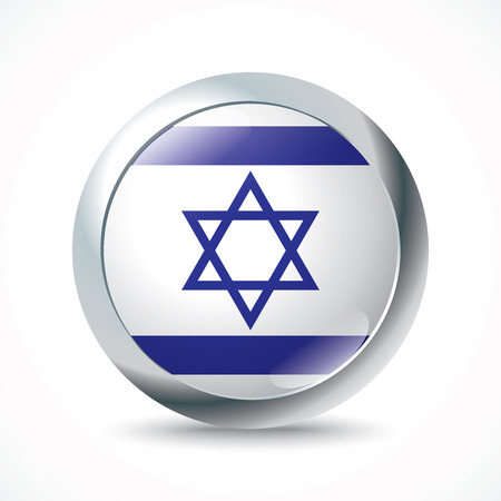 israel flag: Israel flag button - vector illustration